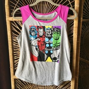 MARVEL Avengers Muscle Tank Top Gray Pink NWT S